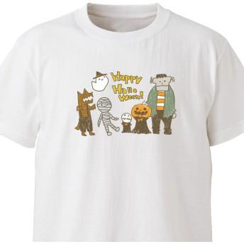 みんなでハロウィン【ホワイト】ekot Tシャツ 5.6オンスイラスト:タカ(笹川ラメ子)