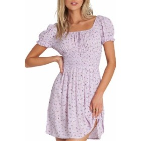 ビラボン レディース ワンピース トップス Billabong Falling For It Floral Off the Shoulder Minidress Lilac
