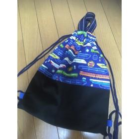 電車柄 かっこいい手持ち巾着袋 ナップサック 男の子 体操着袋 お着替え袋