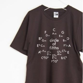 音楽理論系Tシャツ サークル・オブ・フィフス 【ブラウン】 フロントプリント クルーネック メンズ・レディース有