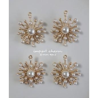【matte gold】import charm pearl 33cm 4pcs