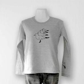 佇むカモメ長袖Tシャツ 杢グレー(メンズ/ユニセックス)