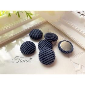 【6個】ブルー ニットカボション くるみボタン カボション #30114