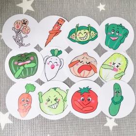 《丸画用紙素材》やさいのうたペープサートパネルシアター保育教材12枚セット食育手遊び歌手作りおもちゃ