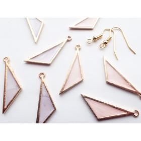 二等辺三角形カラフルチャーム ピンク&パープル各4個