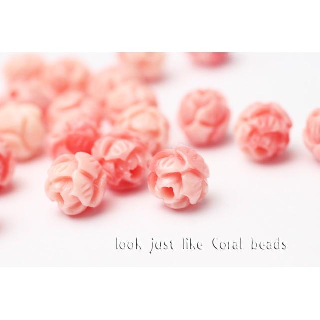 新年SALE★【6mm10粒】まるでピンク珊瑚の樹脂ビーズ《MCO-01》