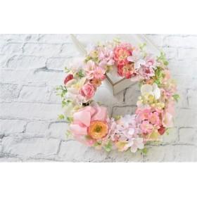 幸せはこぶ 春の花のリース:さくら 桃 ピンク 胡蝶蘭