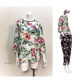 【1点もの・デザイン画付き】花柄ゆったり着物袖トップス(KOJI TOYODA)
