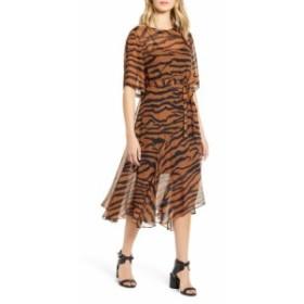 オールセインツ レディース ワンピース トップス ALLSAINTS Enki Zephyr Tiger Stripe Dress Toffee Brown/ Black