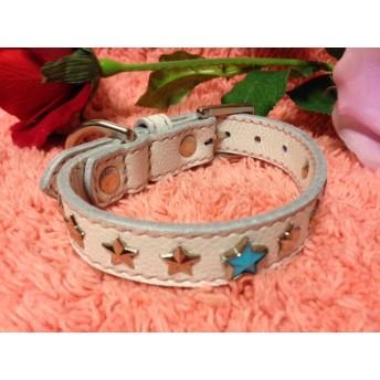 革手縫い星飾り骨チャーム付小型犬用首輪21.5~29センチ 可愛い!