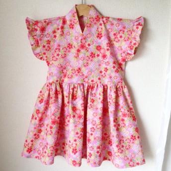 再販♪フリル袖 浴衣ワンピース90 桜ピンク