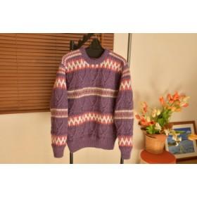 純毛手編み編み込みセーター (送料込み)