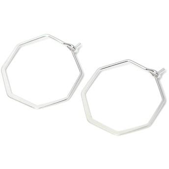 再販【4個入り】マットシルバーSharp Hexagon ヘキサゴン形ピアスフック、パーツ