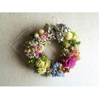 カーネーションと紫陽花のリース