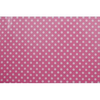 水玉のラミネート 約7mm ピンク 【ハンドメイドのための小さな布】 1173-01