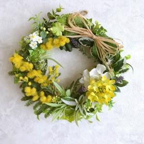 ミモザと菜の花のリース