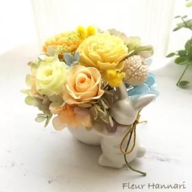 母の日に うさぎさんのブーケ プリザーブドフラワー オレンジ系 結婚祝いやお誕生日プレゼントにも♪