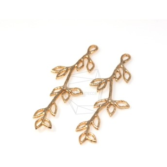 PDT-218-MG【4個入り】枝葉ペンダント,Leaf Branch Pendant/ 18mm x 48mm
