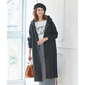 [nissen(ニッセン)] 裏起毛 ロング パーカー コート 大きいサイズ レディース 黒 10L相当