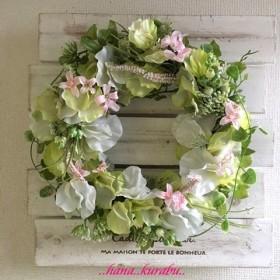 直径22㎝ふんわりスイートピーのリースA◆造花◆壁掛けリース◆
