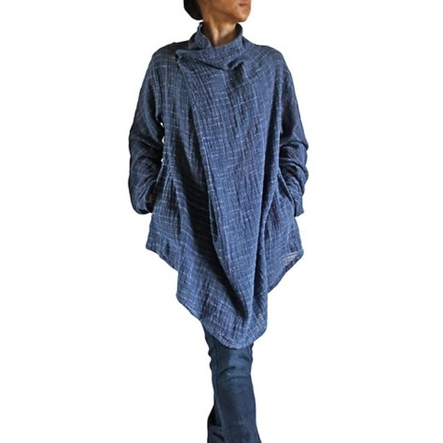 ターポン手織綿のデザインチュニック 紺 Mサイズ(BFS-097-04M)