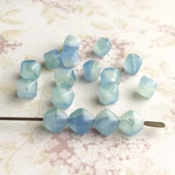【6㍉ 20個】ダイヤ*blue marble*チェコビーズ