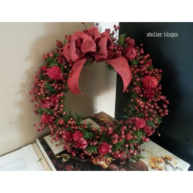 atelier blugra八ヶ岳〜初秋の頃ノイバラの大きなWreath 01
