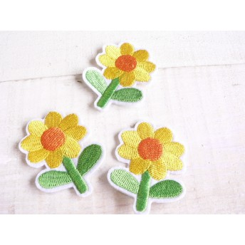 ★黄色い お花 3枚セット アイロンワッペン