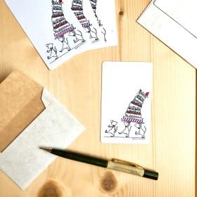 メッセージカード ネズミと7段ケーキ 封筒付