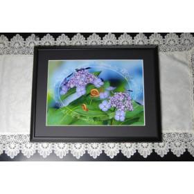 3Dアート 紫陽花とカタツムリ