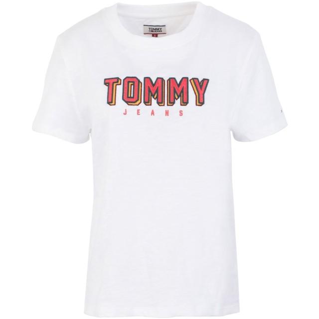 《セール開催中》TOMMY JEANS レディース T シャツ ホワイト XS コットン 100%