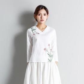 刺繍 植物 花 長袖プルオーバー Vネック ファー付き ブラウス 1