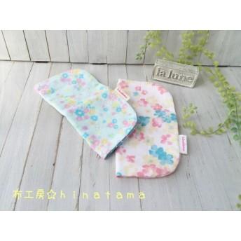 Wガーゼのふんわりハンカチ2枚セット☆パステルフラワー水色×小花ピンク