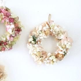 紫陽花と小花の ミニリース ナチュラルカラー 引っ越し祝い プレゼント