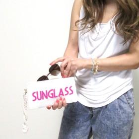 【Swaraj Bag】ビーズロゴポーチ-SUNGLASS