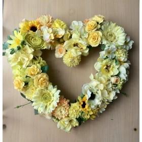 No. wreath-14830/★誕生日/母の日/花/玄関リース★/アーティフィシャルフラワー造花/ハート型リース/イエロー(2)/30x34cm