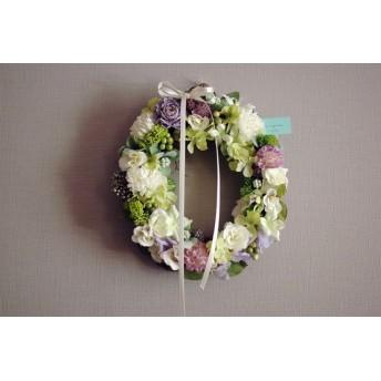 再販*Orval wreath:ラベンダー&ホワイトのオーバルリース