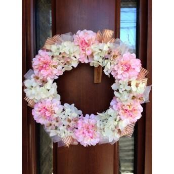 No. wreath-14068/★ギフト/花/玄関リース★【スグ◎発送】/手作りアートフラワー・リース30cm/ピンク&ホワイト