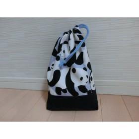 パンダさん柄の巾着袋(水色・上靴入れ)