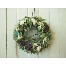 秋色紫陽花と白い花のリース