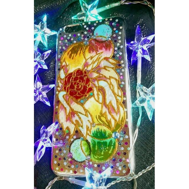 天使の薔薇 羽 オーブ 光の輪 ステンドグラス風 シルバーiPhone6Plus 用 エンジェル ローズ