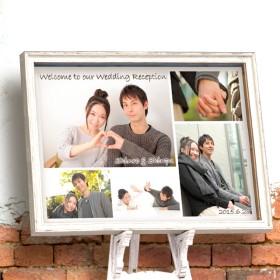 写真ウェルカムボード|選べる書体と文字色!お写真5枚でシンプルなデザイン♪【No.39横】