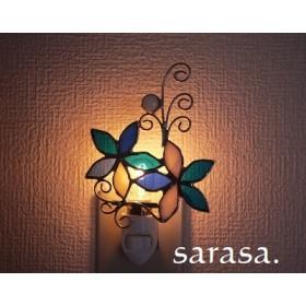 限定品 青と白のお花のフットランプ