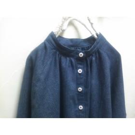 紺ピンストライプ 微起毛のスタンドカラーシャツ