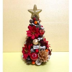 ポインセチアと木ノ実のミニクリスマスツリー