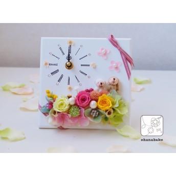 《ギフトに◎結婚祝い・送別・誕生日》プリザーブドフラワーの時計スタンドohanadokei-mini