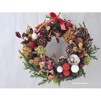 mini-wreath 16cm:グリーンコニファーと木の実