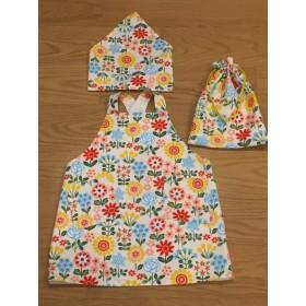 *送料無料*花柄のエプロン・三角巾・巾着セット
