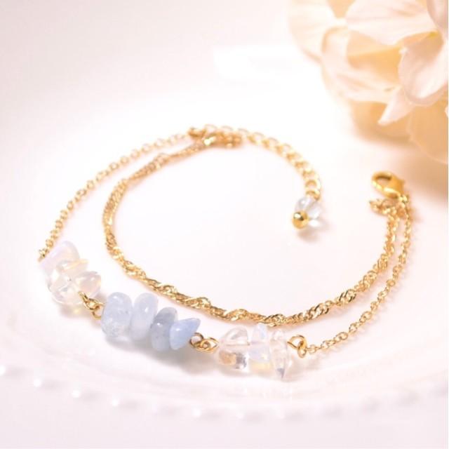 197*さざれの天然石ブレスレット*pastel blue
