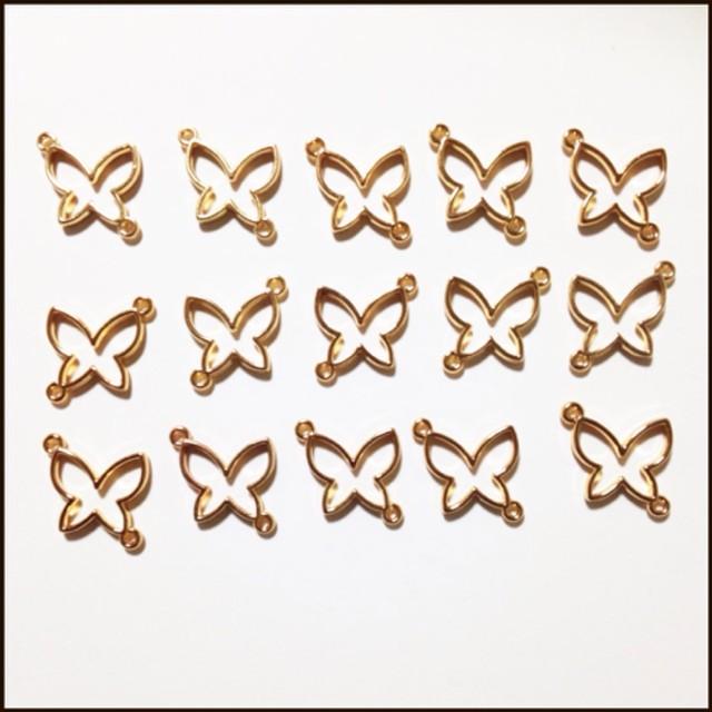 15個 レジン枠 蝶 金
